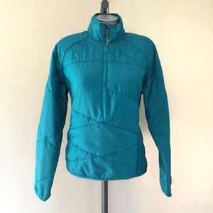 Athleta teal puffer half zip lightweight jacket M
